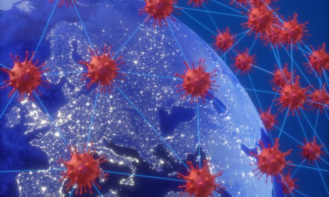 Coronavirus over Europe and Asia